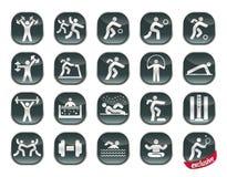 Ikone eingestellt - Sport auf schwarzem Hintergrund Lizenzfreie Stockfotos