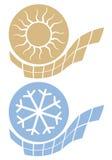Ikone heiß und kalt lizenzfreie abbildung