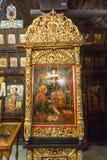 Ikone im Goldrahmen im Troyan-Kloster, Bulgarien Stockfoto