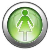Ikone, Knopf, Piktogramm-Damen-Toilette lizenzfreie abbildung