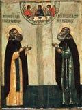 Ikone Macarius das Wonderworker von Kalyazin und Alexander von Svir, das Wonderworker Stockbilder