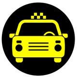 Ikone mit dem Bild eines Taxiautos stockfotografie