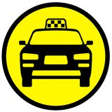 Ikone mit dem Bild eines Taxiautos stockbild
