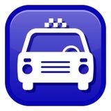 Ikone mit dem Bild eines Taxiautos lizenzfreie stockbilder