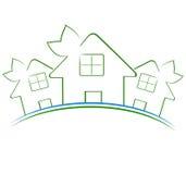 Ikone mit drei grünen Häusern Stockbild