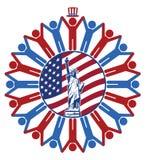Ikone mit Flagge von den Vereinigten Staaten von Amerika Stockfotografie