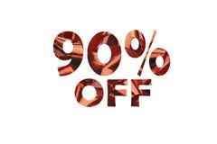 Ikone mit herausgeschnittenem Text 90% weg von einem Bild einer roten Geschenkschleife stockfotografie