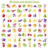 Ikone mit 81 Lebensmitteln Lizenzfreie Stockfotos