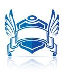 Ikone mit Schildfarbband und -flügeln Lizenzfreie Stockfotografie