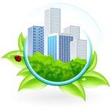 Ikone mit Stadt Lizenzfreies Stockbild