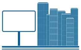 Ikone mit Stadt, Straße und Anschlagtafel Stockfotografie