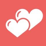 Ikone mit zwei Herzen Weißes Symbol der Liebe auf rotem Hintergrund Stockfotografie