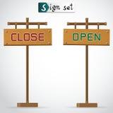 Ikone offen und nahe Vektor-Illustration Stockfoto