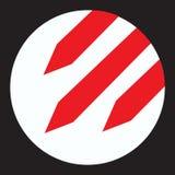 Ikone schnellt weiße runde Ikone der Aufmerksamkeit mit drei roten fallenden Raketen innerhalb des Verbots auf Atomkrieg Symbol h Lizenzfreie Stockfotos