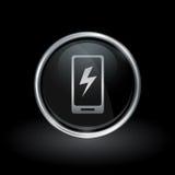 Ikone Smartphone-elektrischer Ladung innerhalb des runden Silbers und schwarzen e Stockfotos