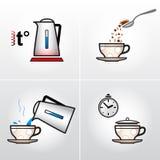 Ikone stellte für Brauprozesstee, Kaffee, etc. ein. Lizenzfreie Stockbilder