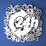 Ikone 24 Stunden auf Büttenpapier-Dekoration Lizenzfreie Stockfotos