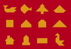 Ikone; Tangram bildet sich (Vektor) Stockfoto