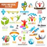 Ikone und Symbol der Leute-verpacken Sozialgemeinschafts3d Stockfotos