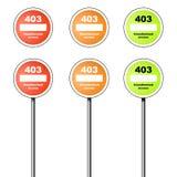 Ikone und Zeichen des Fehlers 403 Stockfotos