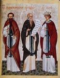 Ikone von Athanasius von Athos, von Barlaam und von Josaphat Lizenzfreie Stockfotos