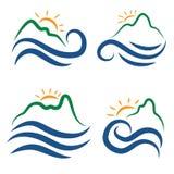 Ikone von Bergen, von Wellen und von Sonne Vektor Lizenzfreie Stockbilder