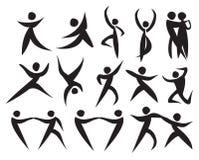 Ikone von den Leuten, die in verschiedene Arten tanzen Stockbild