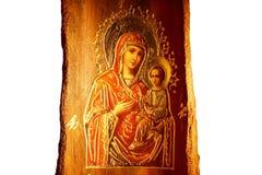 Ikone von Jungfrau Maria und Jesus Christ stockbilder