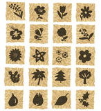 Ikonen auf zerknittertem Papier lizenzfreie abbildung