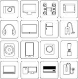 Ikonen-Ausrüstung elektronisch stockbilder