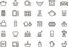 Ikonen bezogen auf der Küche stock abbildung