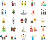Ikonen bezogen auf einer Vielzahl von Leuten Stockbild