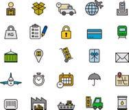 Ikonen bezogen sich auf Transport, Logistik und Versand Stockfotografie