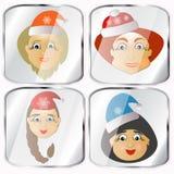 Ikonen, Bilder, pendents über Frau vier Santa Claus-Vektor auf einem grauen Hintergrund Stockfotografie