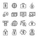 Ikonen Bitcoin und Cryptocurrency Lizenzfreie Stockfotografie