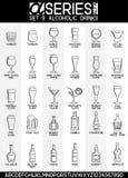 Ikonen der alkoholischen Getränke Stockfotos