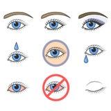 Ikonen der Augen Make-up und Augengesundheit stock abbildung