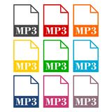 Ikonen der Datei MP3 eingestellt Lizenzfreies Stockfoto