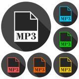 Ikonen der Datei MP3 eingestellt mit langem Schatten Lizenzfreies Stockbild