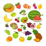 Ikonen der frischen Früchte eingestellt Sammlung der süßen vegetarischen Lebensmittelillustration des Vektors Stockfoto