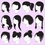 Ikonen der Frisur für Schönheiten vektor abbildung