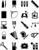 Ikonen der grafischen und Plastikkünste Stockfotos
