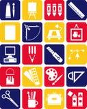 Ikonen der grafischen und Plastikkünste Stockbild