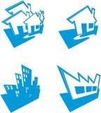 Ikonen der Häuser und der Gebäude Lizenzfreies Stockfoto