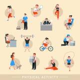 Ikonen der körperlichen Tätigkeit eingestellt vektor abbildung