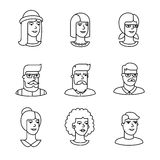 Ikonen der menschlichen Gesichter verdünnen Linie Kunstsatz Stockfotografie