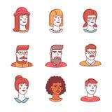 Ikonen der menschlichen Gesichter verdünnen Linie Satz hippies Stockbild