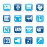 Ikonen der Musik und der Audiogeräte Lizenzfreies Stockbild