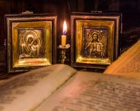 Ikonen der Mutter des Gottes und des Jesus Christs Stockfotos