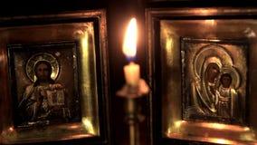 Ikonen der Mutter des Gottes und des Jesus Christs stock footage